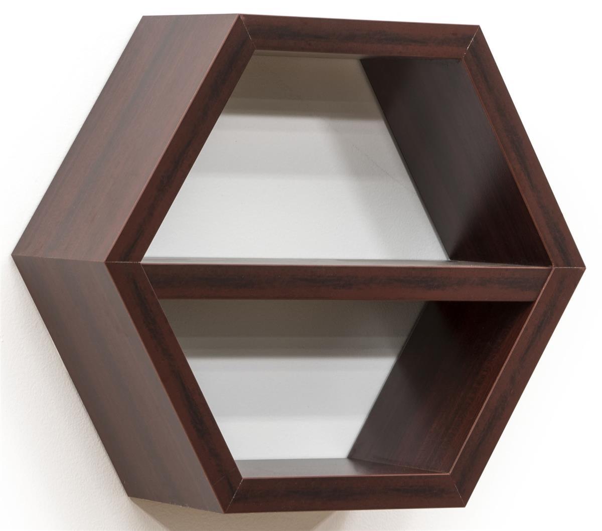 Wood Hexagon Shelf Modern Wall Decor