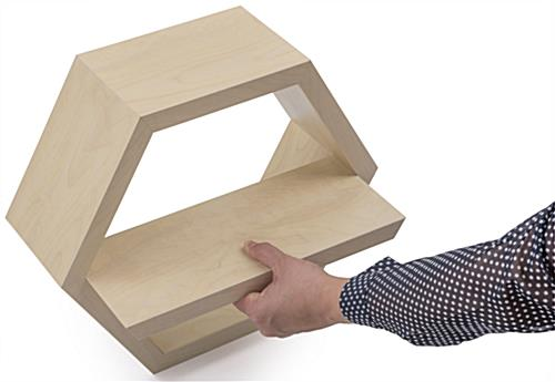 Hexagonal Shelving with Removable Shelf