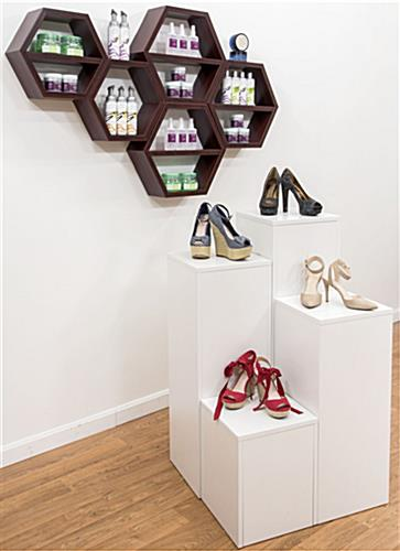 Honeycomb Shelving Unit in a Retail Store