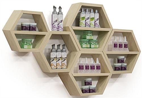 Floating Honeycomb Shelves for Retail