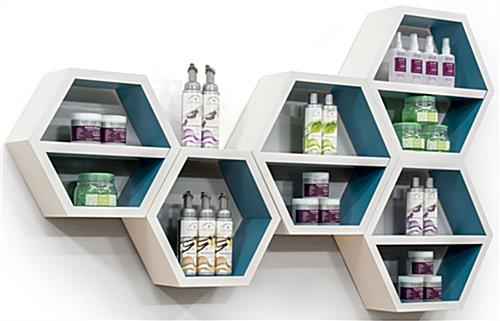 Floating Hexagonal Shelves in Use
