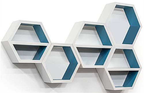 Floating Hexagonal Shelves for a Full Retail Setting