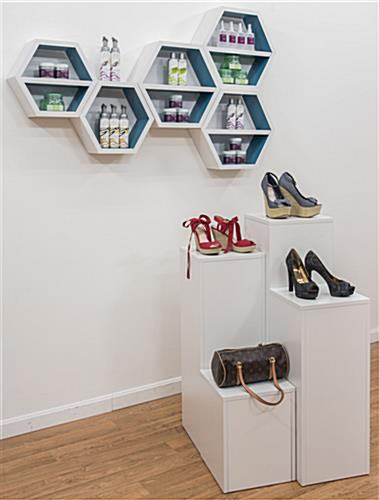 Floating Hexagonal Shelves in a Retail Store