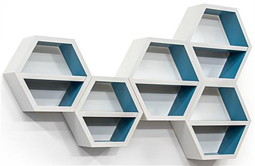 2 Different Size Floating Hexagonal Shelves