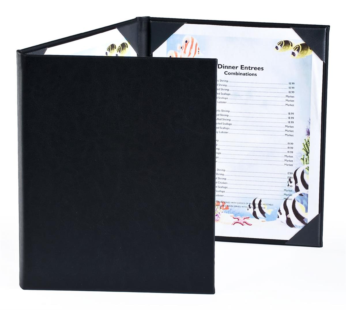 8.25 x 11 /& 4.25 X 11 DOUBLE-STITCH Leatherette Edge-Gold corners 8-VIEW ONE-HALF 25 BETTER QUALITY Menu Covers #P130T BURGUNDY TRIPLE PANEL FOLDOUT SEE MORE: Type MenuCoverMan in  search