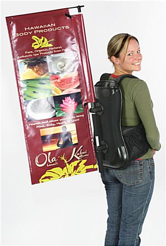 Advertising backpack signage set with backpack and banner