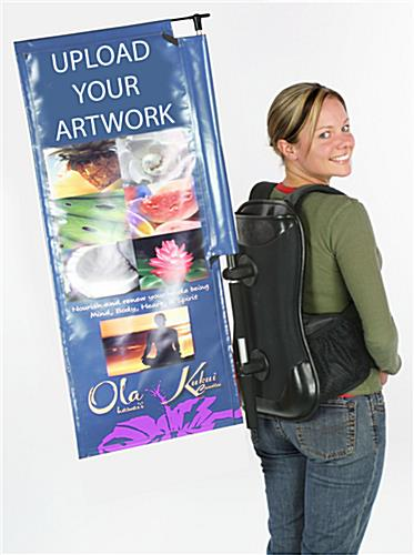 Walking human backpack banner with custom graphics