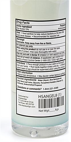 D2g branded hand sanitizer gel bottle label