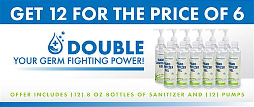 Hand sanitizer gel in 8 ounce bottles