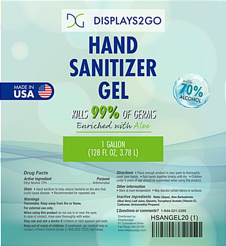 Gallon hand sanitizer refill with informative front label