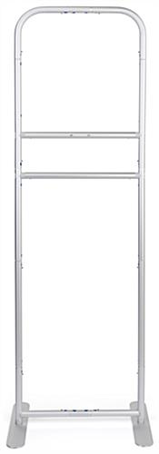 24 inch x 78.75 inch banner stand sanitizer dispenser frame with a sleek silver finish