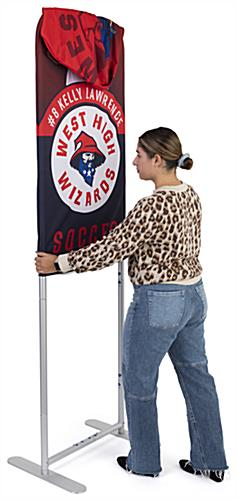 24 inch x 78.75 inch banner stand sanitizer dispenser frame with easy to apply custom graphics