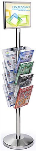 11 x 17 Floor Sign Stanchion with Magazine Rack, Chrome