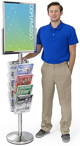Sturdy 24 x 18 Floor Standing Sign with Magazine Holder