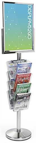 24 x 18 Floor Standing Sign with Magazine Holder, Steel Pole