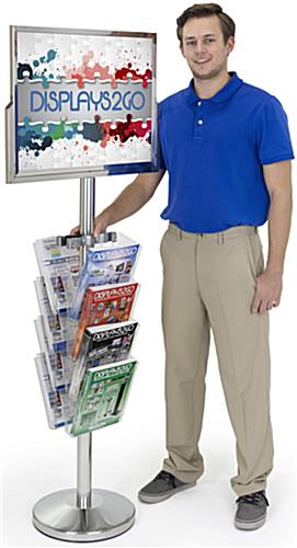 Sign Stand with Literature Organizer for High Traffic Areas