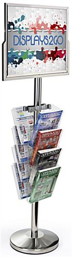 Sign Stand with Literature Organizer, Tiered Pocket View