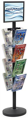 "17"" x 11"" Sign Post with 8 Clear Literature Pockets, Floorstanding"