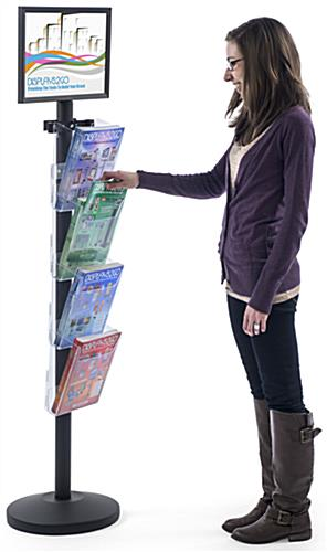 "17"" x 11"" Sign Post with 4 Clear Literature Pockets, .25"" Max Sign Thickness"