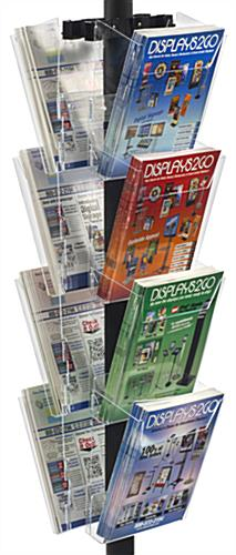 "24"" x 18"" Sign Post with 8 Clear Literature Pockets, 66"" Overall Height"