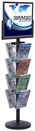 "24"" x 18"" Sign Post with 8 Clear Literature Pockets, Floorstanding"