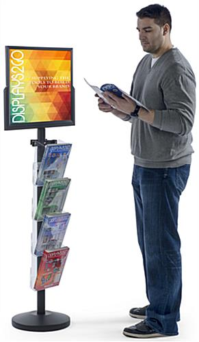 "24"" x 18"" Sign Post with 4 Clear Literature Pockets, 25.8"" Overall Width"