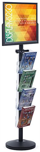 "24"" x 18"" Sign Post with 4 Clear Literature Pockets, Floorstanding"