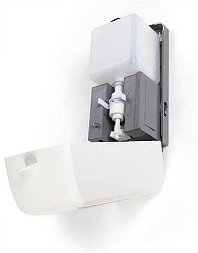 Wall mount sanitizer with dispenser cover with free pour gel refills