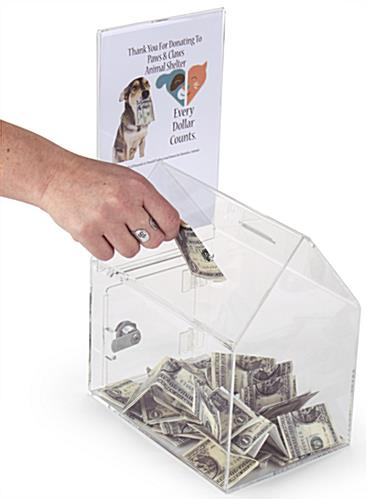 House Shaped Donation Box with 2 Money Slots & 1 Sign Holder