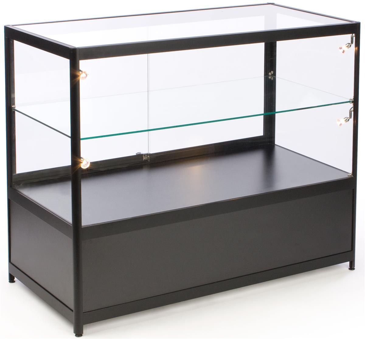 Glass Counter Locking Storage Base W Black Lights