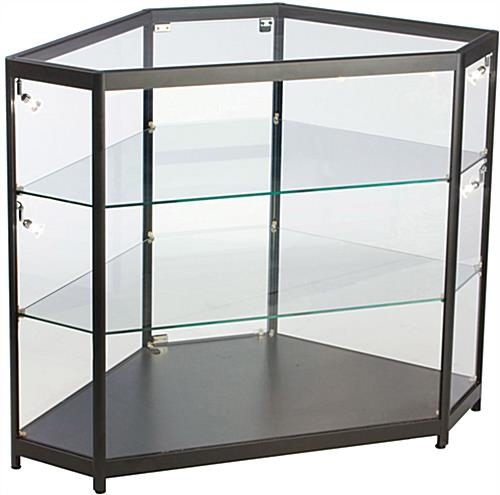 LED Glass Counter Corner with 2 Adjustable Shelves