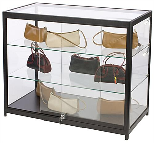 "Aluminum Display Case Counter, 21.5"" Shelf Depth"