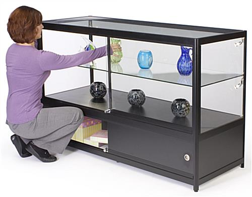 Lighted Glass Display Counter with Enclosed Storage Area