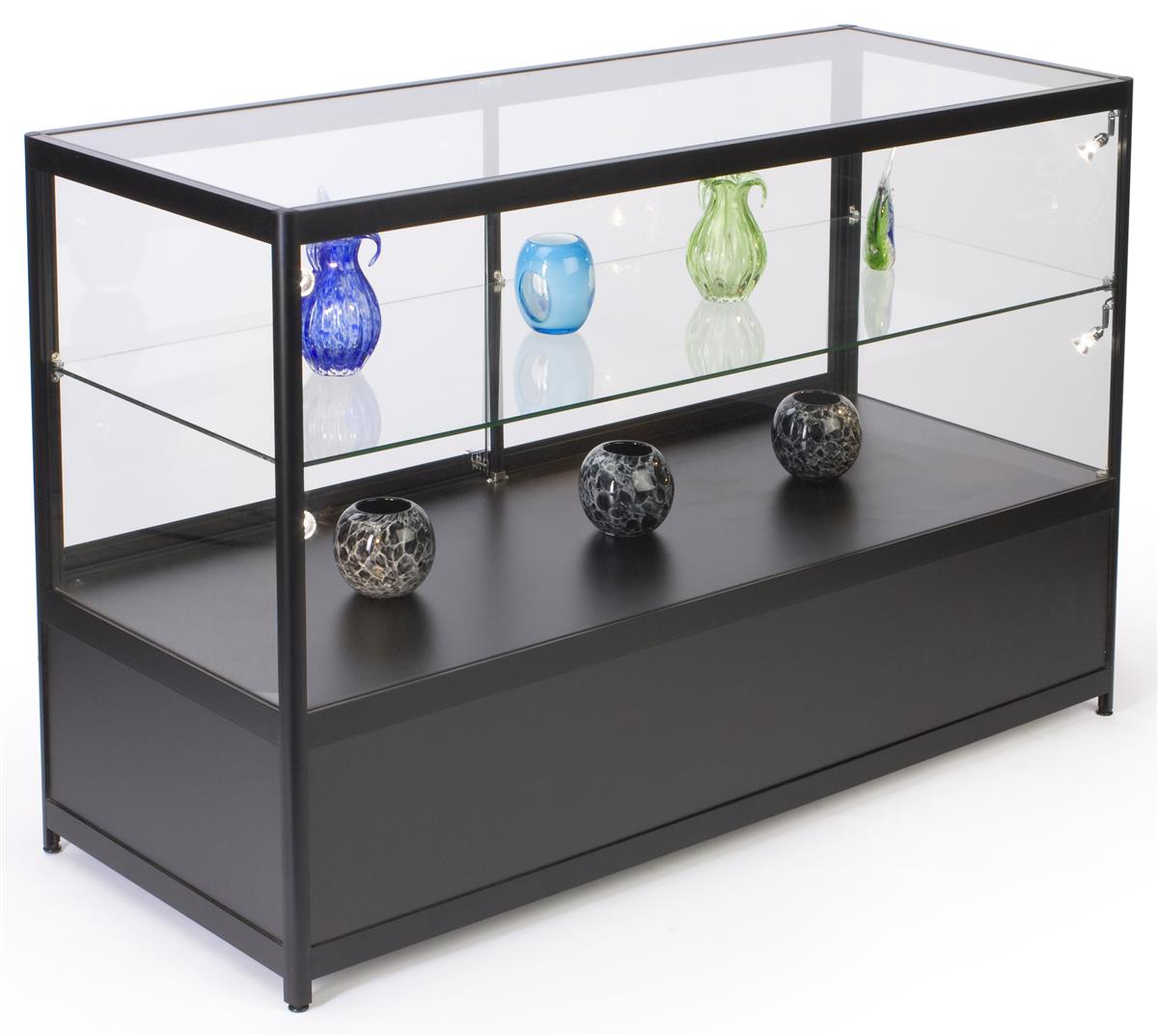 Phenomenal 60 Retail Display Case W Storage Led Side Lights Sliding Door Black Download Free Architecture Designs Embacsunscenecom