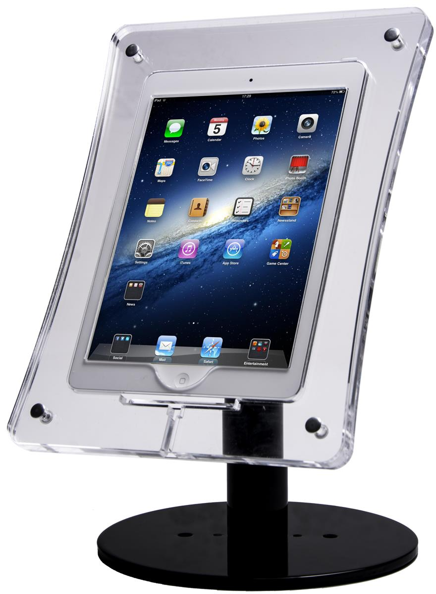 Acrylic Tablet Stand Clear Enclosure And Black Base For