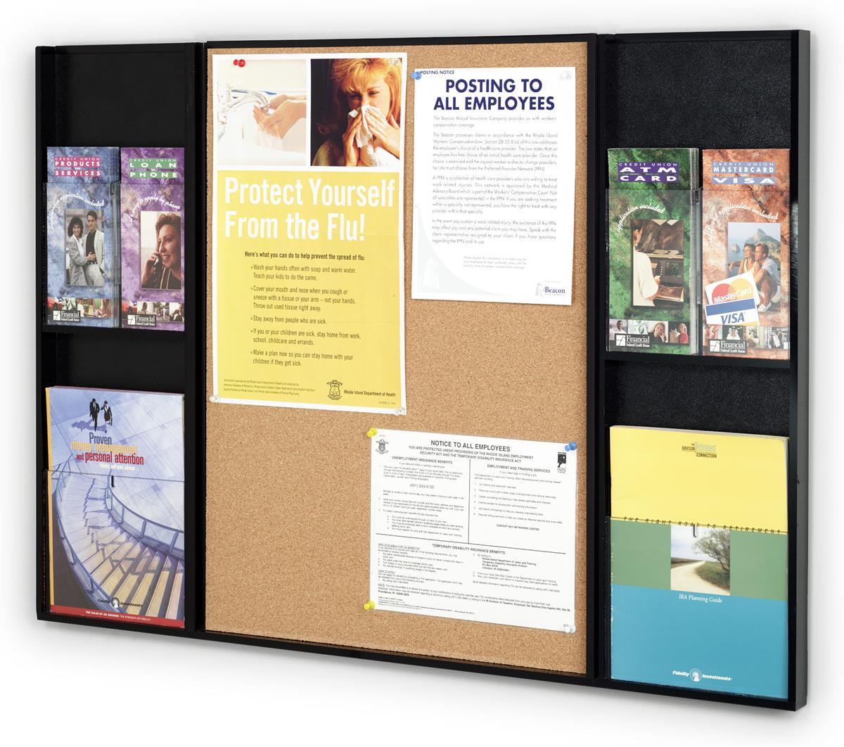 Information display with pinnable cork board pamphlet for Cork board displays