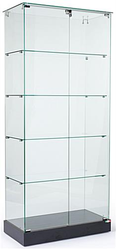 Store Showcases That Have A Tempered Glass Design-Assembly Required Black Matte Laminate Finish