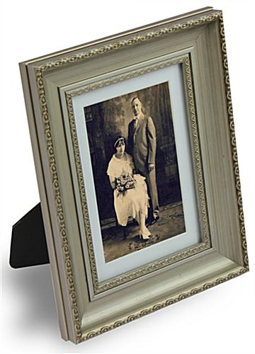 Antiqued-Silver Picture Frame With Easel Stand