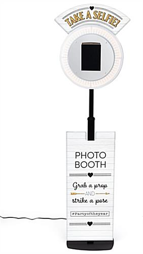 Promotional tablet selfie booth with height adjustability knob