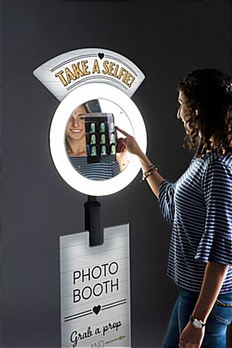 Promotional tablet selfie booth with dimmable and tiltable anti-theft enclosure