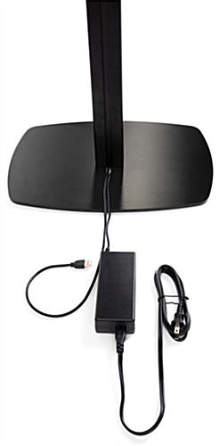 iPad photo booth stand with light ring featuring cable management for power cords