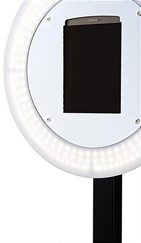 Anti-theft iPad photo booth stand with light ring and tablet enclosure reinforced with security screws
