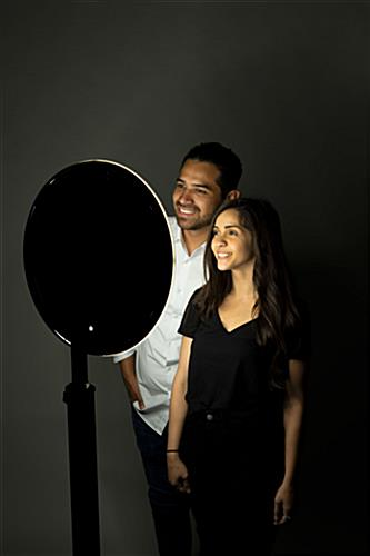 iPad photo booth stand with light ring for group selfies at events