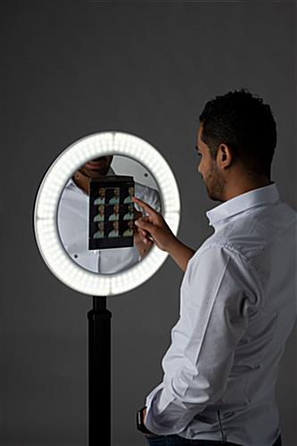 iPad photo booth stand with light ring enclosure for event selfies