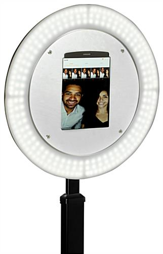 Brightly-lit iPad photo booth stand with light ring