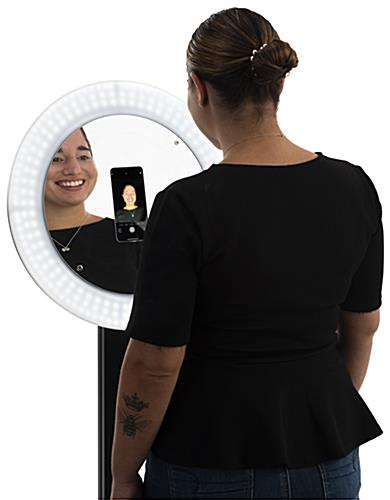 55 inch -70 inch photo booth station with ring light holds the iPhone 11