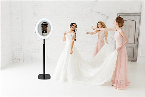 iPad photo booth stand with an illuminated light ring