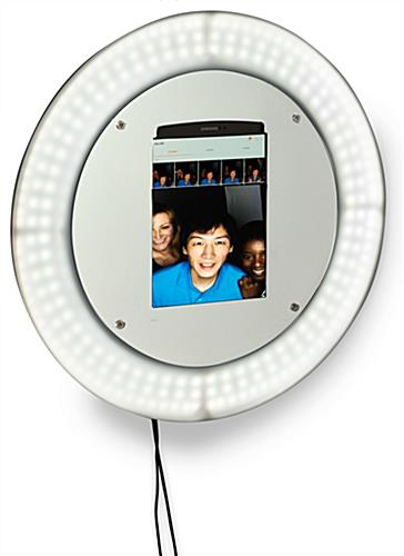 Wall mount photo booth station with light ring with anti-theft enclosure accommodates 9.7 inch tablets