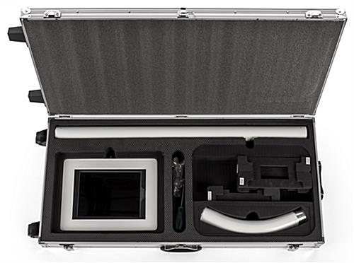 Floor to counter model inside storage case for convertible iPad stands