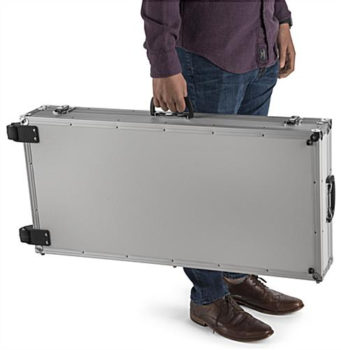 Portable storage case for convertible iPad stands with sturdy carry handles